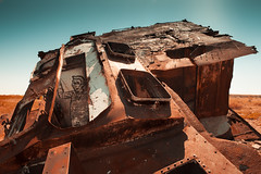 Last chance to sea - Aral Sea // Kazakhstan (Demipoulpe) Tags: trip sea color water graveyard canon sadness harbor sand asia ship central salt rusty disaster seashell 24mm kazakhstan madmax aral ecological eurasia urbex 2015 aralsk 5dmk2 outbex