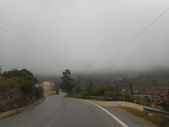(Psinthos.Net) Tags: road morning trees houses house mountain signs fog pinetree clouds spring cloudy may mountainside shrub treebranches shrubs oleander clous cypresstree  wetroad cloudiness   pinkoleander       psinthos