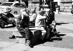 Street - A place in the sun. (JohnVenice) Tags: street old blackandwhite men spain espana segovia oldmen