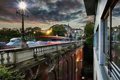 Before the night comes. (Bach Quoc-Anh) Tags: street city longexposure bridge sunset brussels urban lights cityscape belgium pov citylife explore transportation hdr
