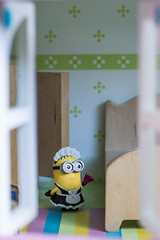 Minions Wanted (SnapperAaron taking part in www.52frames.com) Tags: house window fun toy dolls humor cleaning housework framing maid minion