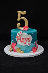Mermaid birthday cake (jennywenny) Tags: birthday shells cake gold 5 teal pearls mermaid