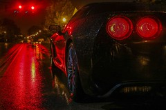 Stop to look. (croleyy70) Tags: road light rain night canon reflections photography photoshoot or go stop chevy redlight corvette vette taillights c6