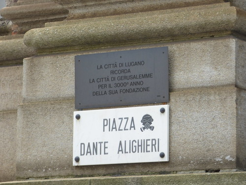Piazza Alighieri Dante, Lugano - road sign and plaque