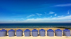 Cabourg (Eric_G73) Tags: cabourg parasols beach plage normandy typical postcard landscape view france sky bluesky sand umbrellas