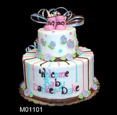 M01101 (merrittsbakery) Tags: cake tiered babyshower baby booties shoes babybooties ribbon