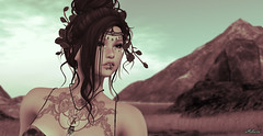 (Bleem Belargio) Tags: woman sl secondlife mountains portrait tattoo sky necklace