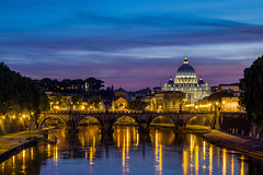 Rome Sunset (clarsonx) Tags: bridge sunset italy vatican rome reflection water skyline night landscape dusk bluehour castelsantangelo saintpetersbasilica tiberriver pontesantangelo fiumetevere