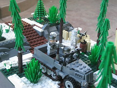 Spring 1945 (tyfighter07) Tags: cliff snow tree mill water river bag spring sand cabin rocks lego wwii sd watermill moc sdkfz mg42 sdkfz10 mp40 kar98 brickbuilder7