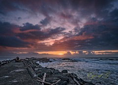 Coquille River Jetty @ Sunset-Edit.jpg (Eye of G Photography) Tags: sunset usa beach oregon waves jetty places pacificocean northamerica bandon rockformations sunsetsunrise skyclouds coquilleriver coquillelighthouse
