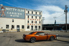 Nutty Club (bryanscott) Tags: building car sign architecture typography downtown winnipeg sony manitoba signage type exchangedistrict a7ii canonfd24mmf28