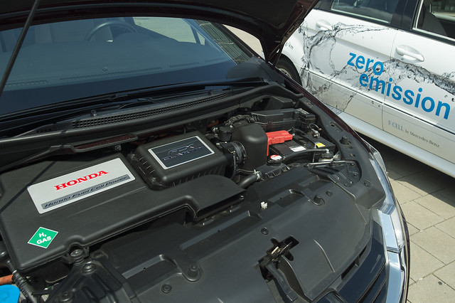 Close-up of a fuel cell powered car