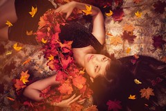 """""""Colors of the Wind""""  (sandys eyecatcher) Tags: autumn red portrait woman color colour fall colors beautiful leaves canon studio photography photoshoot fallcolors posing fromabove romantic dreamy concept studiolight studiophotography instagramapp sandyseyecatcher canon5dsr"""