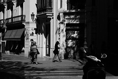 at a corner of Valencia (Amselchen) Tags: street city travel shadow people bw valencia mono blackwhite spain fuji fujifilm lightshadow fujinon lightandshadow xt10 xc1650mmf3556oisii