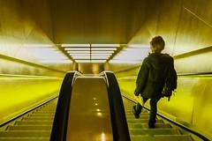 Checking Out (sunrisesoup) Tags: seattle usa public yellow library escalator wa