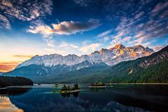 Alpine Serenity (Daniel Vogelbacher) Tags: mountain lake mountains nature berg clouds canon germany bayern deutschland bavaria see europa hill natur wolken hills berge ausflug seen garmischpartenkirchen eibsee zugspitze