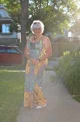 Out Of The Ether (Laurette Victoria) Tags: woman silver dress sidewalk milwaukee maxi laurette