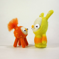 Candy and Quorn (Kit Lane) Tags: kitlane felting wool kawaii jacabunny candy toy toys orange characters creatures bunny burble nurblet