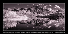 Vimy Ridge, Vimy Peak, Mt. Boswell, Porcupine Ridge and Mt. Campbell, Waterton Lakes National Park, Alberta (kgogrady) Tags: infrared landscape summer waterton alberta canada xf55200mmf3548ois westerncanada xpro1 bw albertalandscapes albertalakes blackwhite blackandwhite ab 2016 watertonlakesnationalpark fujinon fujifilmxpro1 fujifilm panorama pano parkscanada peaks canadianlandscapes cans2s canadianmountains canadiannationalparks nopeople evening southernalberta noone maskinongelake mountains mountainlakes