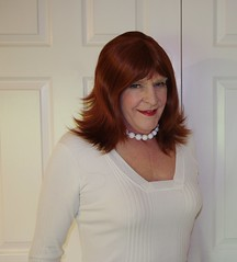 Pure as driven snow! (donnacd) Tags: sissy tgirl clit clitty tgurl jewels dressing crossdress crossdresser cd travesti transgenre xdresser crossdressing feminization tranny tv ts feminized domina donna red dress scarf heels gold crossed legs pumps shoes panties thong polka dots white blouse earrings hair black stockings tights bra fishnet corset necklace collar