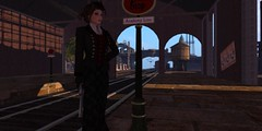 When I give the signal (alexandriabrangwin) Tags: alexandriabrangwin secondlife 3d cgi computer graphics virtual world victorian era old city elegant lady madame mistress huge gun revolver magnum supernatural hunter skirt jacket hair updo train station steampunk sunset eerie spooky ambush ready waiting rails water tower bridge platform