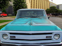 It's not an Audi (libraryrivergirl) Tags: chevrolet truck turquoise hoodornament brassknuckles