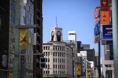Lomography Petzval Lens  TOKYO 3 GINZA (sunuq) Tags: road japan canon eos tokyo ginza lomography outdoor sidewalk 日本 5d 東京 銀座 zenit 交差点 時計台 和光 銀座四丁目 petzval 5dmarkii ロモグラフィ ペッツバール