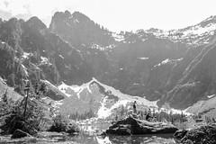 bw singers (geoffreydoor) Tags: seattle people bw lake snow mountains landscape washington peak mountainlake heatherlake
