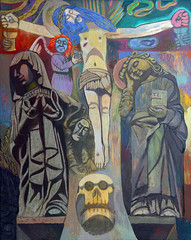 Kurutziaga´s cross-1 (Fernando A. Charro) Tags: portrait art vertical illustration angel painting naked skull colorful artist catholic christ cross artistic god drawing contemporary surrealism faith fineart religion jesus kitsch holy figure oil expressionism expressionist land parody metaphor crucifixion oilpainting symbolic realism realistic naif naïve kurutziaga golgotha​​