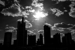 Frankfurt am Main - Skyline (Picturepest) Tags: city shadow urban blackandwhite bw sun building monochrome silhouette skyline architecture germany deutschland licht town blackwhite europa europe hessen outdoor frankfurt wolken front beam german stadt architektur alemania sw schwarzweiss sonne allemagne gebude frankfurtammain germania frankfurtmain francfort deutsch hesse strahl stdtisch frankfurtam hassia einfarbig schwarzweis umriss leigt frankfurtamain