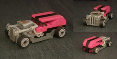 Pink-looking red rod (Count Sepulchure) Tags: pink red hot car lego low stripe turbo tiny hotrod vehicle rod tt grille racers blower moc 3wide