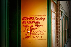 Mind your manners! (Rob Sneed) Tags: urban sign club louisiana rules handpainted monroe script niteclub nofighting clubetiquette nodopesmoking