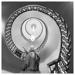 147/366 Spiral Staircase (Sarah*Rose) Tags: panorama building monochrome up statue architecture stairs spiral looking townhouse steps ceiling queen aberdeen staircase merge