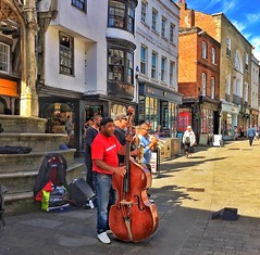 It was all about the bass in the sunshine in Winchester (juliavhill) Tags: sunshine jazz hampshire buskers streetmusic winchester busking doublebass
