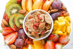 fresh fruits and cereal flakes (cook_inspire) Tags: fruit healthy fresh breakfast food nutrition health diet fiber grain flakes strawberry products cereal organic dessert snack seasonal grapes orange gourmet berries oat cornflakes cuisine background eating vegetarian natural delicious sweet muesli bio yogurt summer granola fitness mango kiwi peach vitamin lifestyle assorted ingredient superfoods goji