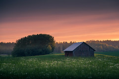 Barn (Olli Tasso) Tags: trees sunset summer field june barn rural forest suomi finland landscape evening countryside midsummer maisema juhannus lato pelto pirkanmaa toijala maalaismaisema