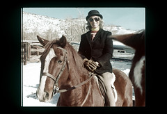 ss equest-38 (ndpa / s. lundeen, archivist) Tags: horses horse woman snow color film hat sunglasses colorado nick slide shades hills gloves rockymountains turtleneck slideshow 1970s aspen 1977 rider bowler equestrian horseback foxhunt hunt dewolf woodycreek equestrians nickdewolf roaringforkvalley photographbynickdewolf woodycreekhounds