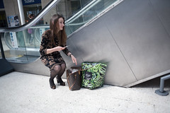 (ziemowit.maj) Tags: shopping louis streetphotography handbag waterloostation centrallondon candidphotography louisvuittonbag ef28mmf18 strangefacialexpression canon5dmkiii blackdresswithfloralpattern mshopppingbag overdressedwomansquatingwithaphoneinherhand