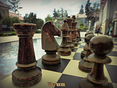 chess [explored] (Ryuu) Tags: street people horse brown macro tower glass closeup architecture composition table wooden focus dof play candid chess figure figures chessboard warmtones chessfigures lowpov