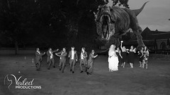 Dinosaur chasing the wedding party! Fun wedding photos. Kat and Oli's wedding day - photography and videography by Veiled Productions - wedding photography and videography Cambridgeshire
