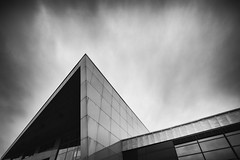 Faculty of Electrical Engineering and Computer Science (fjuryadam) Tags: school sunset sky bw detail building monochrome architecture modern canon lights triangle university republic shadows czech sony wide technical symetry ostrava lightroom poruba mirrorless