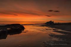 MORNING SILHOUETTE (lynneberry57) Tags: sunrise bamburghcastle castle coast sea water colour sky clouds orange silhouette canon 70d leefilters seascape landscape ripples beach