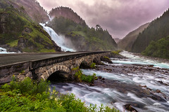 Latefossen, Odda, Norway (huddart_martin) Tags: bridge trees sky mountains nature water norway clouds river landscape norge waterfall forests odda ltefossen sonya99