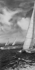 Spring Regatta (bobbyraygoldsmith) Tags: ocean sailboat wind clouds drawing sailing regatta sails setsail atthehelm painting pencil graphite