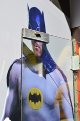 "Coventry St. (""who is that masked man?"") 23aug16 (richardbw9) Tags: london uk england westminster westend city street urban londonstreetphotography batman 60sbatman adamwest whoisthatmaskedman maskedman superhero door doorhinge plateglass shopwindow coventrystreet leicestersquare anon disguised indisguise mask robocop bat hinge lock manboobs fairgroundentertainer franchise merchandise designerstubble michaelkeaton giftshop souvenir welcome"