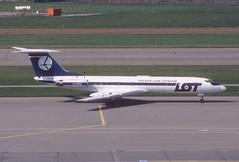 LOT Polish Airlines Tupolev 134A; SP-LHF@ZRH, August 1979 (Aero Icarus) Tags: slidescan plane avion aircraft flugzeug lot polishairlines tupolev134a splhf zrh zürichkloten