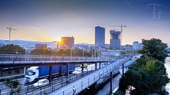 Sunset Movement (Thomas TRENZ) Tags: austria sonneuntergang stadt stadterkundung thomastrenz traffic verkehr vienna bewegung city cityexplore development entwicklung iamnikon movement sunset wachstum wien sterreich