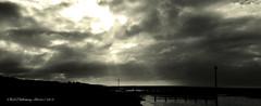 Cloud break (rhfo2o - rick hathaway photography) Tags: sea blackandwhite bw beach clouds sunrise mono seaside westsussex iphone rustington iphone4s rhfo2o
