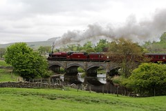 LMS Stanier Jubilee 45699 'Galatea' heads 'The Fellsman' railtour crossing the River Ribble at Helwith Bridge North Yorkshire 27th May 2015 © (steamdriver12) Tags: park bridge england west heritage sc water river coast countryside jubilee smoke yorkshire north steam national locomotive railtour railways carlisle settle the lms 460 ribble galatea wcr stanier 45699 helwith 6p5f fellsman