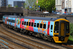 158798, Fratton, May 12th 2015 (Southsea_Matt) Tags: train railway firstgreatwestern fratton portsmouthharbour dmu cardiffcentral class158 newlivery speciallivery 158798 springboardopportunitygroup